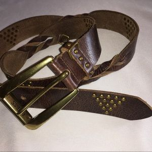 """GUESS Brown Leather Studded Belt Size 46"""""""
